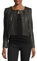 Joie Zeno Cropped Leather Jacket with Fringe, Smokey Ash