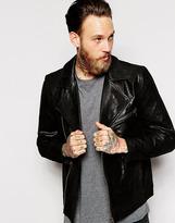 Dr Denim Leather Biker Jacket Jason Assymetric Zip - Black