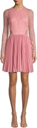 Aidan Mattox Lace Pleated Skirt A-Line Cocktail Dress