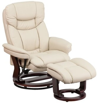 Latitude Run Faux Leather Manual Swivel Recliner with Ottoman Fabric: Beige Faux Leather