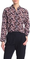 Vince Floral Pleated Long Sleeve Silk Shirt