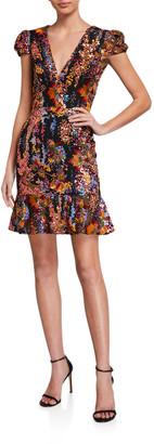 Dress the Population Corrine Floral Sequin Cap-Sleeve Mini Flounce Dress