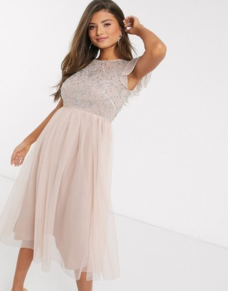 Frock and Frill embellished frill sleeve dress in pink