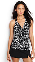 Lands' End Women's Petite V-neck Halter Tankini Top-Black/White Etched Scroll