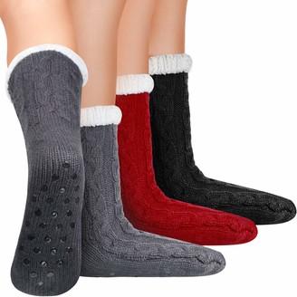 Satinior 3 Pairs Winter Slipper Socks for Women Warm Fuzzy Fluffy Slipper Socks (Red