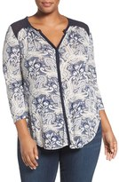 Lucky Brand Plus Size Women's Sheer Contrast Print Knit Top