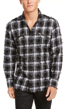 INC International Concepts Inc Men's Frayed Plaid Shirt, Created for Macy's