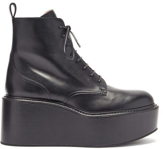 Rochas Exaggerated-platform Leather Boots - Black