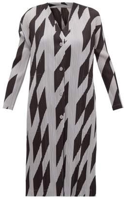 Pleats Please Issey Miyake Rhombus-print Plisse Cardigan - Womens - Black Grey