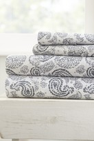 IENJOY HOME The Home Spun Premium Ultra Soft Coarse Paisley Pattern 4-Piece Queen Bed Sheet Set - Navy