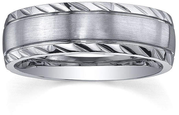 JCPenney MODERN BRIDE Personalized Mens 7mm Diamond-Cut Stainless Steel Wedding Band