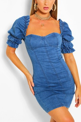boohoo Ruffle Sleeve Denim Bodycon Dress