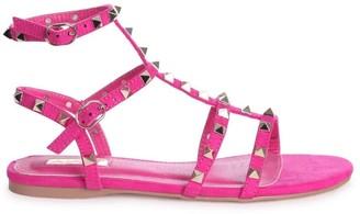 Linzi VIOLET - Hot Pink Suede All Over Studded Gladiator Sandal