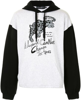 Dolce & Gabbana Slogan Print Hooded Sweatshirt