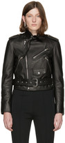 Balenciaga Black Leather Scarf Biker Jacket