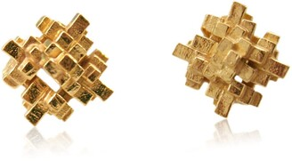 Karolina Bik Jewellery Tetris Square Earrings Gold