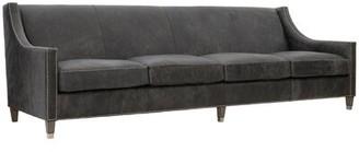 "Bernhardt Palisades Genuine Leather 108"" Square Arm Sofa Body Fabric: Midnight 207-010, Leg Color: Antique White, Nailhead Detail: Brass"
