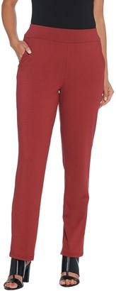 Bob Mackie Petite Cotton Modal Pull-On Straight Leg Pants