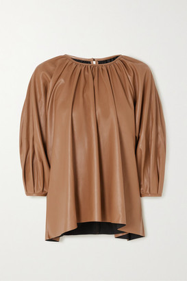 Frankie Shop Gathered Faux Leather Top - Camel
