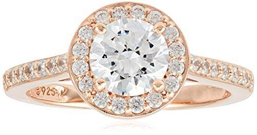 Swarovski Rose Gold-Plated Sterling Silver Zirconia Round-Cut Halo Ring (1.95 cttw)