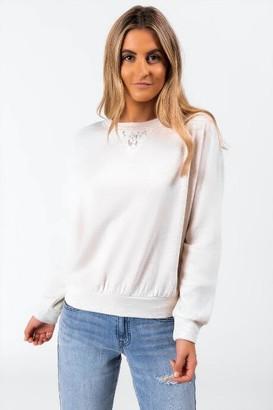 francesca's Lelah Lace Insert Sweatshirt - Heather Oat