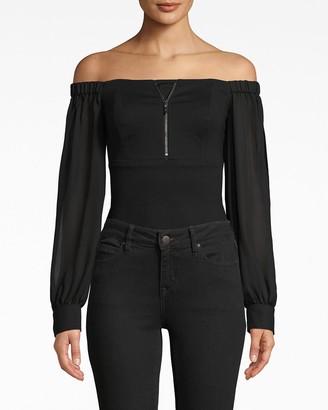 Nicole Miller Ponte Combo Bodysuit