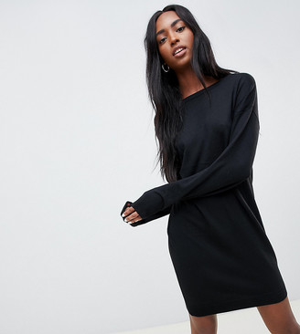 Asos Tall DESIGN Tall jumper dress with scoop back in eco yarn-Black