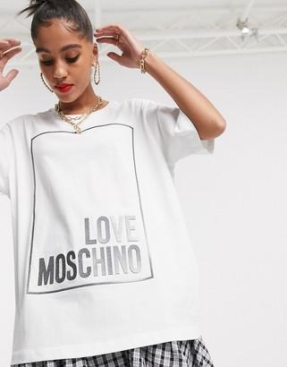 Love Moschino rubbersied box logo t-shirt-White
