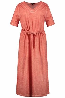 Ulla Popken Women's Plus Size Cold Dye V-Neck Knit Dress Papaya 20/22 722365 66-46+