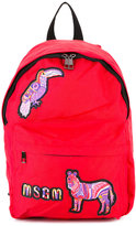 MSGM embroidered animals backpack - kids - Polyester - One Size