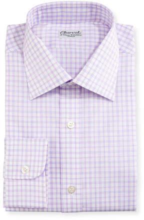 Charvet Check Dress Shirt, Purple/White