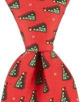 Roundtree & Yorke Christmas Tree Traditional Silk Tie