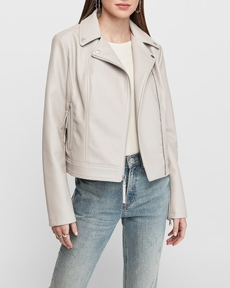 Express Vegan Leather Asymmetrical Zip Moto Jacket