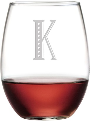 Susquehanna Glass Monogrammed Stemless Glasses with Sand Etched Movie Font Letter Set of 4 K 15 oz