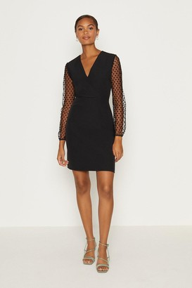 Coast Polkadot Mesh Sleeve Pencil Dress