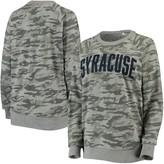 Unbranded Women's Pressbox Camo Syracuse Orange Gulfport Applique French Terry Crew Neck Sweatshirt