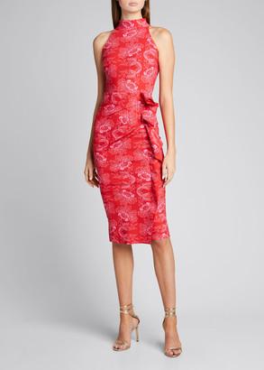 Chiara Boni Amenadiel Floral Print Side-Drape Halter Dress