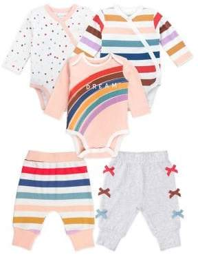 M·A·C Mac & Moon Baby Girl's Rainbow Girl Mix & Match Play 5-Piece Cotton Set