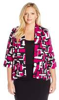 Kasper Plus Size Abstract Printed Twill Open Front Makali Jacket.