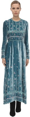 Luisa Beccaria Long Embroidered Velvet Dress