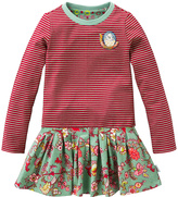 Oilily Pink & Green Stripe Floral Tes Dress - Toddler & Girls