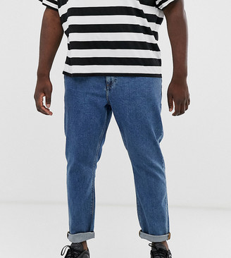 ASOS DESIGN Plus slim jeans in flat mid wash blue