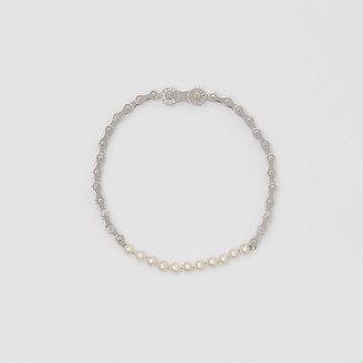 Burberry Pearl Detail Bicycle Chain Palladium-plated Necklace