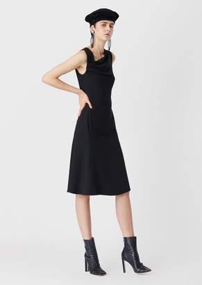 Giorgio Armani Cady, Tie-Neckline Midi Dress
