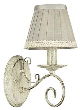 Elegant Classic Shabby Chic Sconce/Wall Lamp Cream Metal Frame Grey/Beige Fabric Shade excl. 1 Bulb x E14 40W