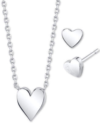 Unwritten 2-Pc. Set Mini Heart Pendant Necklace & Matching Stud Earrings in Fine Silver-Plate