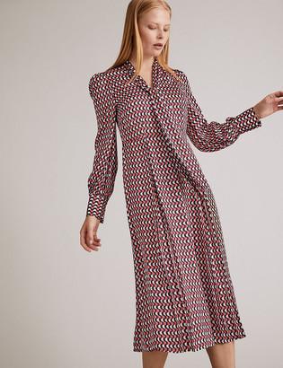 Marks and Spencer Satin Geometric Midi Shirt Dress