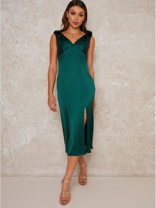 Chi Chi London Paolo Pleated Midi Dress - Green