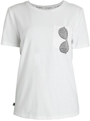 Karl Lagerfeld Paris Stud Sunglass Pocket T-Shirt