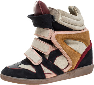 Isabel Marant Multicolor Suede And Leather Bekett Wedge Sneakers Size 38